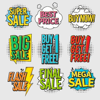 Colorful sale comic bubbles set with halftone effect