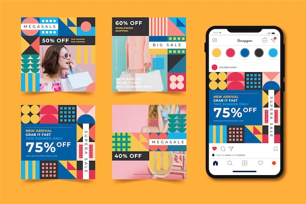 Colorful sale instagram posts pack