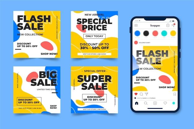 Colorful sale instagram posts set