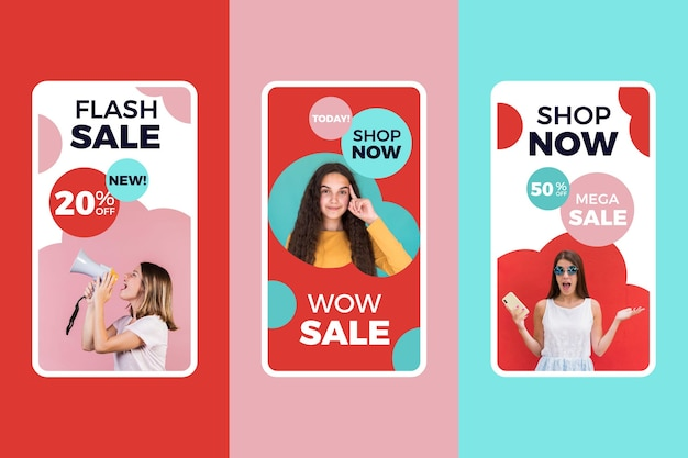 Colorful sale instagram stories pack