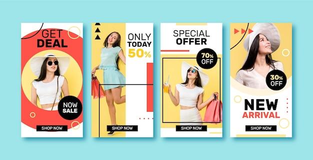 다채로운 판매 인스 타 그램 이야기 세트