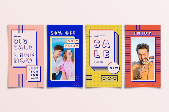 Colorful sale instagram stories set