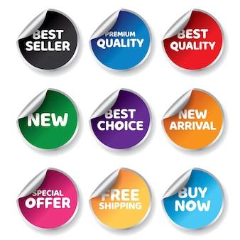 Коллекция красочных этикеток для продажи