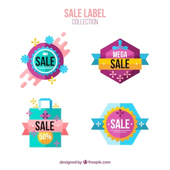 Colorful sale labels with flat design