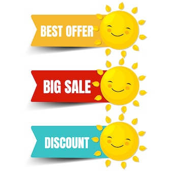 Colorful sale labels with sun isolated white background