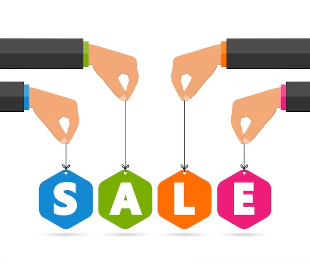 Colorful sale paper tags.