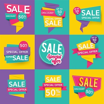 Colorful sale signs