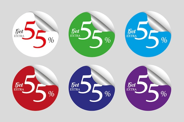 Colorful sale stickers set collection with fifty five 55 percent off