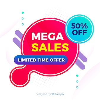 Colorful sales background geometric design