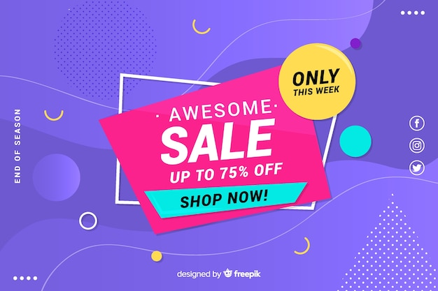 Colorful sales background geometric design