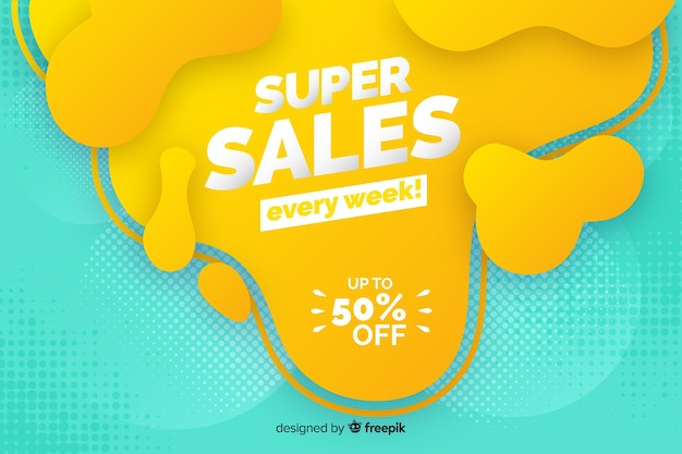 Colorful sales background liquid effect