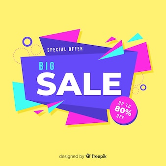 Colorful sales background origami style