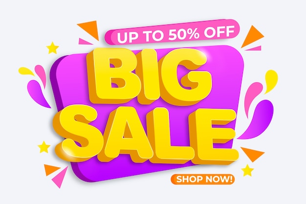 Colorful sales background with big sale