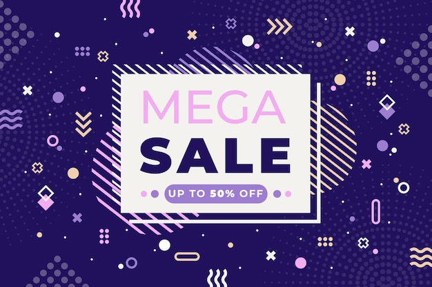 Colorful sales background with memphis shapes