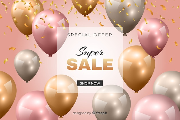 Colorful sales background with realistic balloons