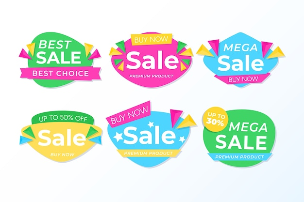 Colorful sales banner collection concept