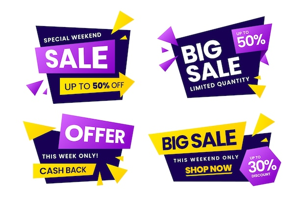 Colorful sales banner collection with discount