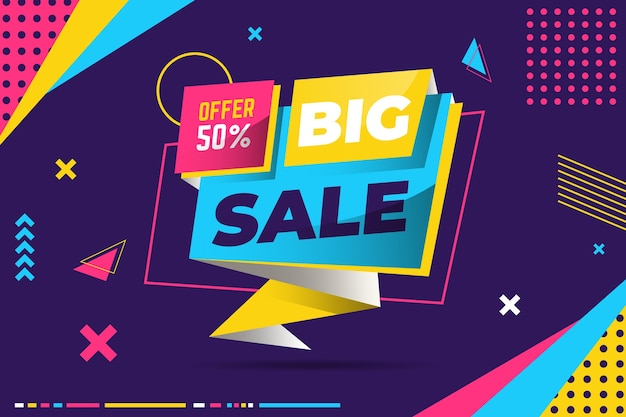 Colorful sales banner in origami style concept