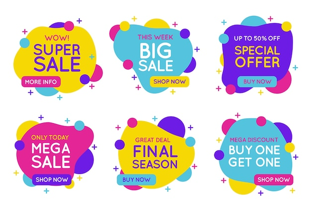 Colorful sales banners collection concept