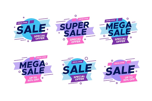 Colorful sales banners collection style