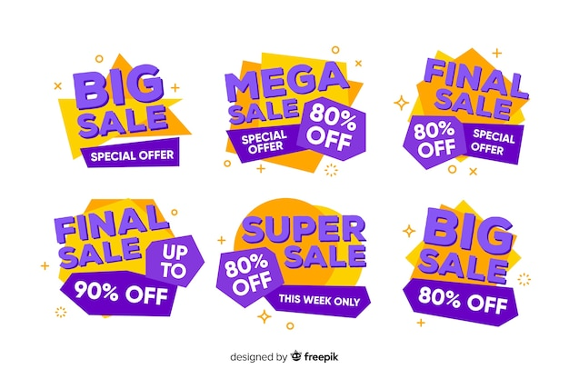 Colorful sales banners geometric design
