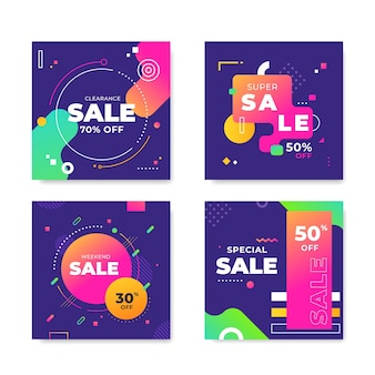 Коллекция красочных продаж ig post