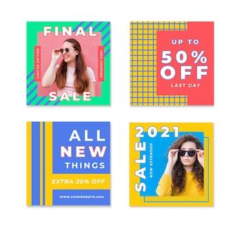 Красочные продажи instagram пост коллекция