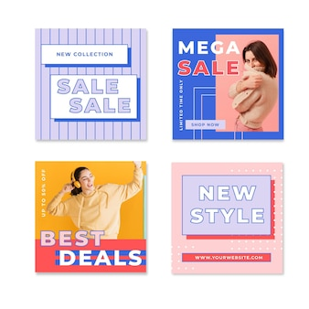Colorful sales instagram post collection