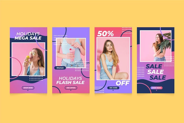 Colorful sales instagram post pack