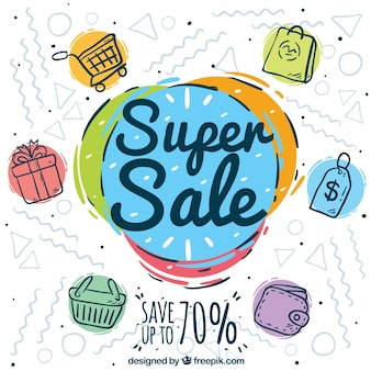 Colorful sales with hand drawn style