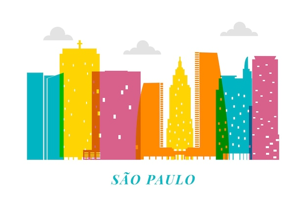 Colorful sao paulo skyline