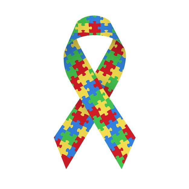 Красочная атласная лента-головоломка как символ осведомленности об аутизме. отдельные векторные иллюстрации на белом фоне