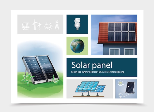 Colorful save energy composition with solar panels on grass and on house roof earth planet lightbulb derrick wind turbines recycling sign icons