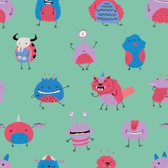 カラフルなスカンジナビアスタイルのモンスターパターン