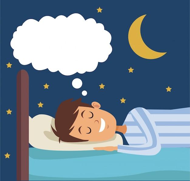 夜にベッドで夢を見るカラフルなシーンの少年