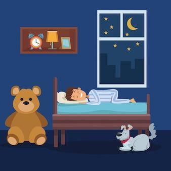 Красочная сцена мальчик спать в спальне с собакой