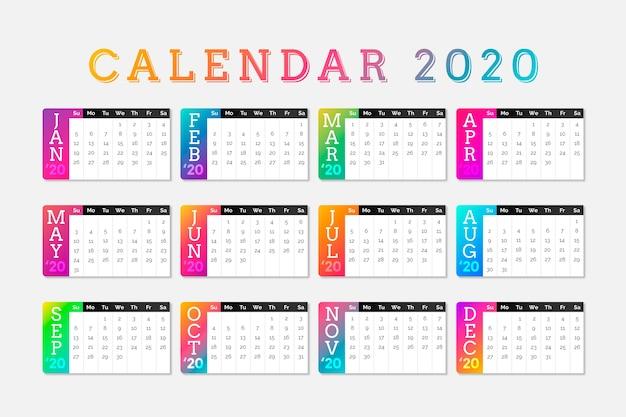 Colorful schedule calendar 2020