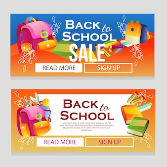 Colorful school banner template with school supplies
