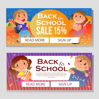 Colorful school banner with cartoon student