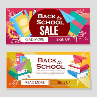 Colorful school banner with school books