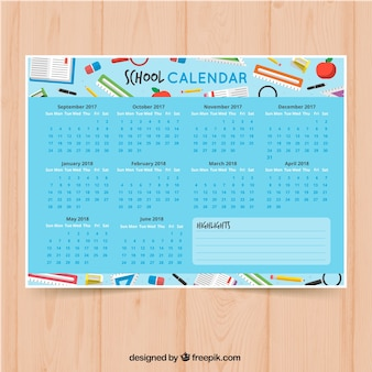 Calendario scolastico colorato con forniture scolastiche