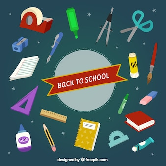 Colorful school materials with dark background