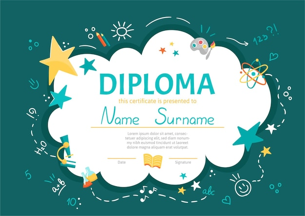 Colorful school and preschool diploma certificate for kids and children in kindergarten or primary grades with school pack, kit on green chalkboard background.  cartoon flat illustration