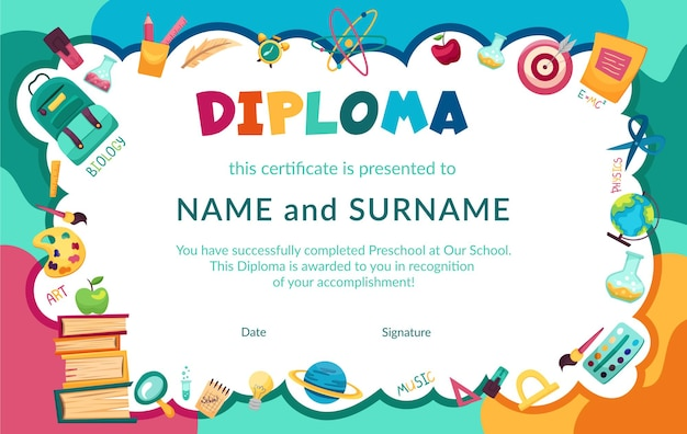 Colorful school and preschool diploma certificate for kids and in kindergarten primary grades