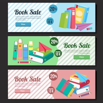 Colorful school sale banner web set book sale