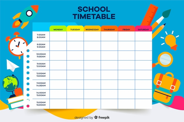 Colorful school timetable template flat design