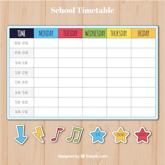 Цветной шаблон расписания школы