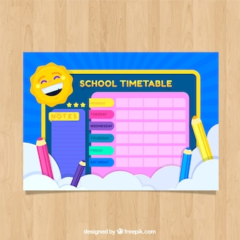 Colorful school timetable with laughing sun