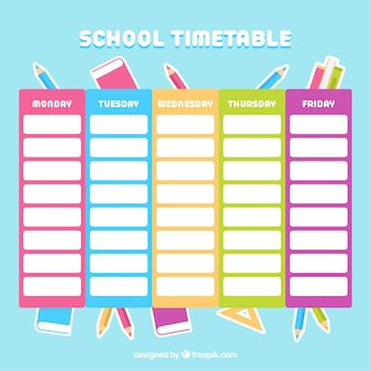 Colorful school timetable