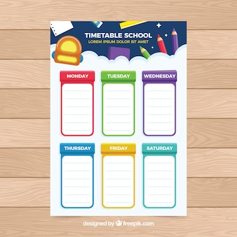 Цветное школьное расписание